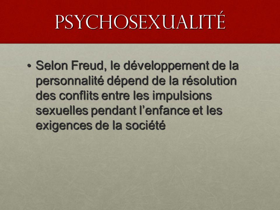 PSyChosexualité Selon Freud, le développement de la personnalité dépend de la résolution des conflits entre les impulsions sexuelles pendant lenfance