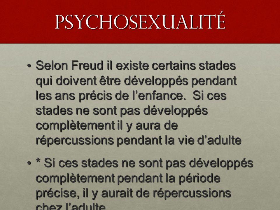 PSyChosexualité Selon Freud il existe certains stades qui doivent être développés pendant les ans précis de lenfance. Si ces stades ne sont pas dévelo