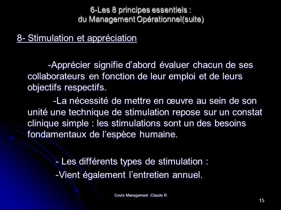 Cours Management -Claude R 6-Les 8 principes essentiels : du Management Opérationnel(suite) 8- Stimulation et appréciation -Apprécier signifie dabord