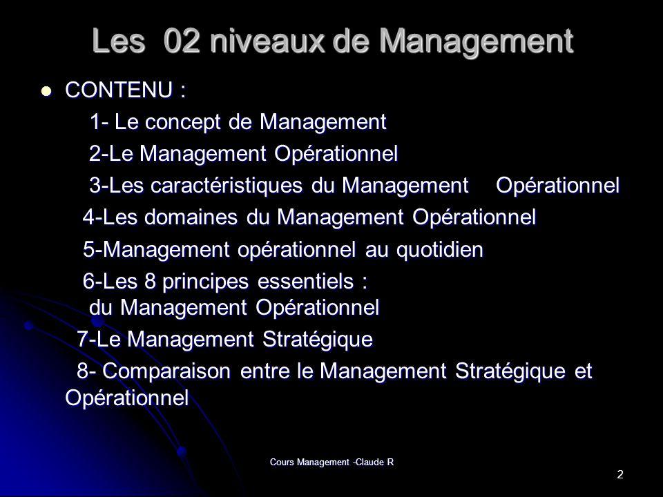 Cours Management -Claude R Les 02 niveaux de Management CONTENU : CONTENU : 1- Le concept de Management 1- Le concept de Management 2-Le Management Op