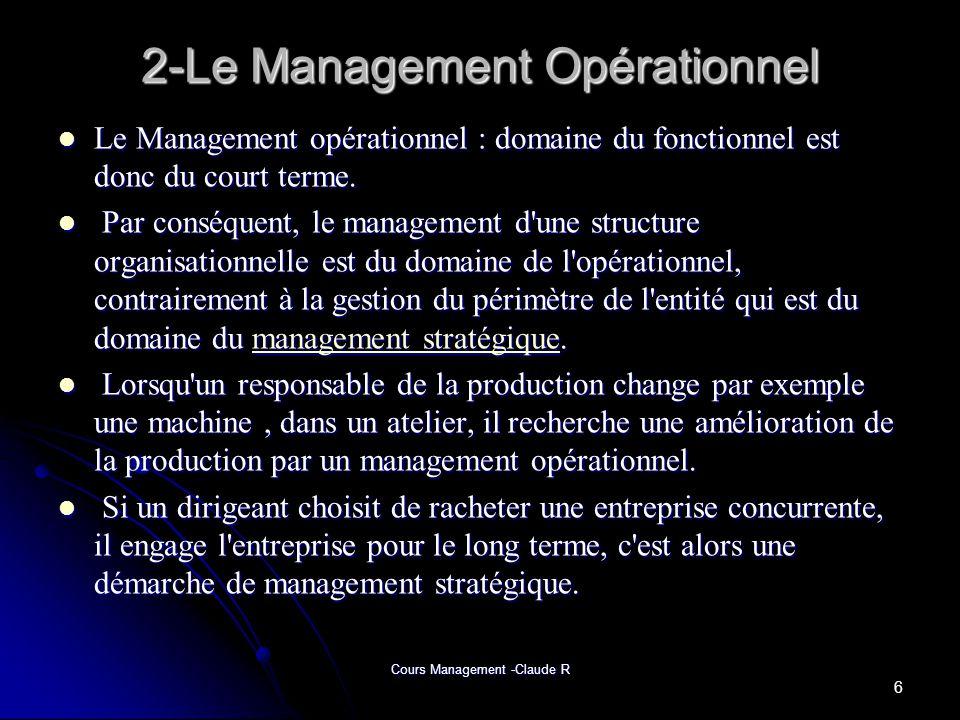 Cours Management -Claude R 7-Le Management Stratégique(suite) -La stratégie consiste à déterminer les objectifs et les buts fondamentaux à long terme dune organisation puis à choisir les modes daction et dallocation des ressources qui permettrons datteindre ces buts et objectifs.