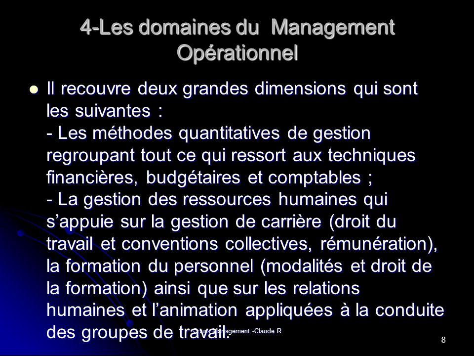 Cours Management -Claude R 8- Comparaison entre le Management Stratégique et Opérationnel MANAGEMENT STRATEGIQUE MANAGEMENT OPERATIONNEL OUTILS DE GESTION STRATEGIQUE OPERATIONNEL STRATEGIEORGANISATION Diagnostic Structure, Processus opérationnels FFOM… CONTRÔLE DE GESTION,DCD… Analyse Systèmes de décision LCGA,ANSOFF,P ORTER MCKINSEY,ADL,B CG R LIKERT… Orientations Système dinformation SYSTÈME DE PLANIFICATION COMPTABILITE… Mise en œuvre Système danimation des hommes TABLEAU DE BOARD BLACK AND MOUTON,TANNE BAUM,SCHMIDT Contrôle CONTRÔLE DE GESTION… GESTION DU MARCHE GESTION DE LENTREPRISE 19