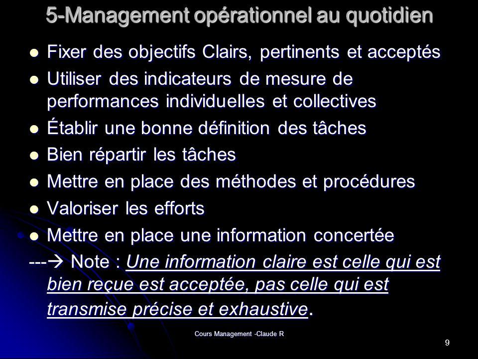 Cours Management -Claude R 5-Management opérationnel au quotidien 5-Management opérationnel au quotidien Fixer des objectifs Clairs, pertinents et acc
