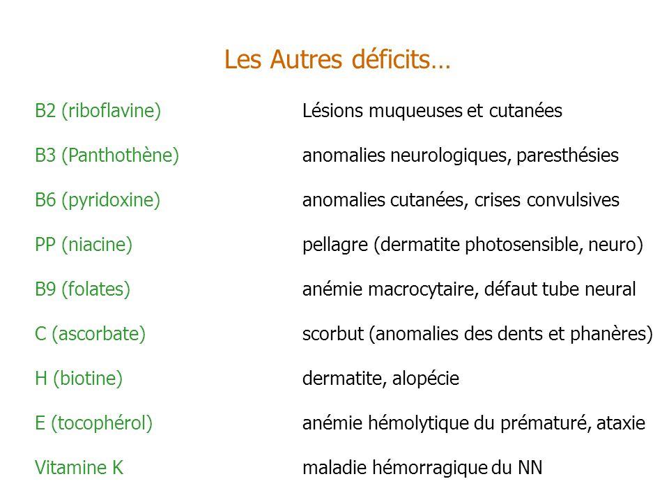 Les Autres déficits… B2 (riboflavine)Lésions muqueuses et cutanées B3 (Panthothène)anomalies neurologiques, paresthésies B6 (pyridoxine)anomalies cuta