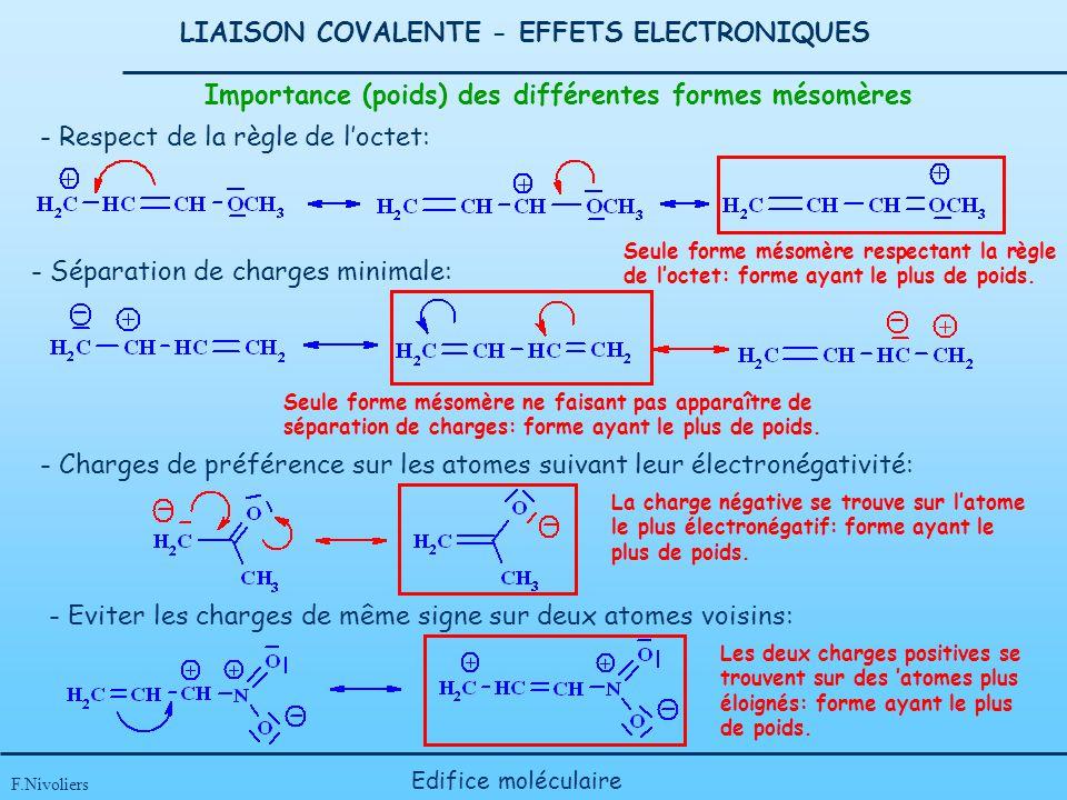 LIAISON COVALENTE - EFFETS ELECTRONIQUES F.Nivoliers Edifice moléculaire Importance (poids) des différentes formes mésomères - Respect de la règle de