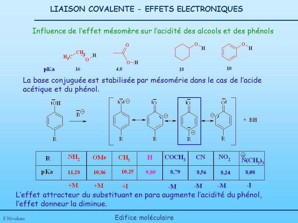 LIAISON COVALENTE - EFFETS ELECTRONIQUES F.Nivoliers Edifice moléculaire Influence de leffet mésomère sur lacidité des alcools et des phénols La base