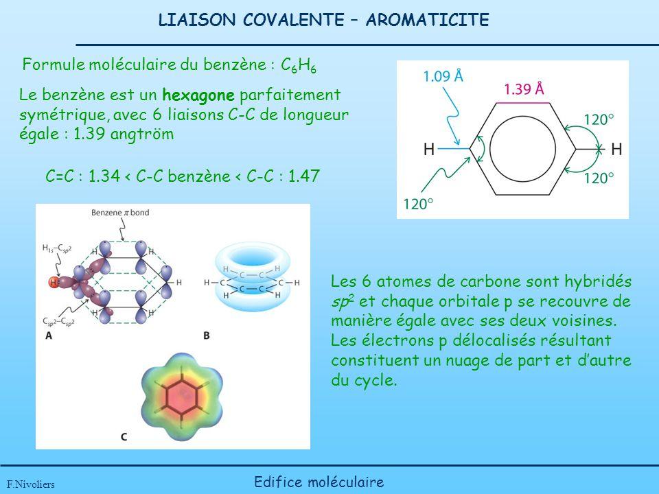 LIAISON COVALENTE – AROMATICITE F.Nivoliers Edifice moléculaire Les 6 atomes de carbone sont hybridés sp 2 et chaque orbitale p se recouvre de manière