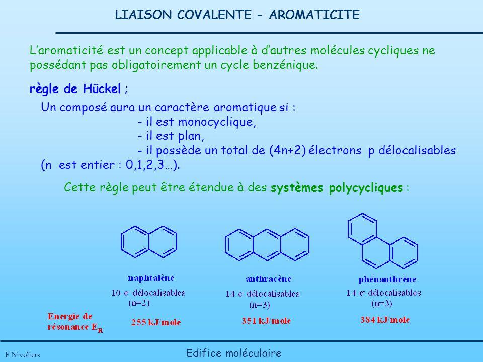 LIAISON COVALENTE - AROMATICITE F.Nivoliers Edifice moléculaire Laromaticité est un concept applicable à dautres molécules cycliques ne possédant pas