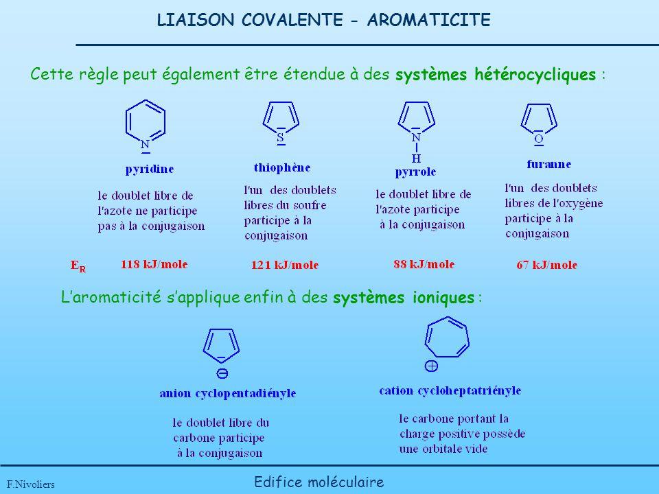 LIAISON COVALENTE - AROMATICITE F.Nivoliers Edifice moléculaire Laromaticité sapplique enfin à des systèmes ioniques : Cette règle peut également être