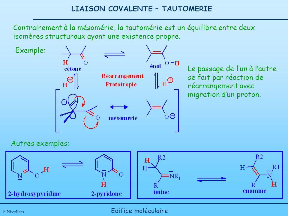 LIAISON COVALENTE – TAUTOMERIE F.Nivoliers Edifice moléculaire Contrairement à la mésomérie, la tautomérie est un équilibre entre deux isomères struct