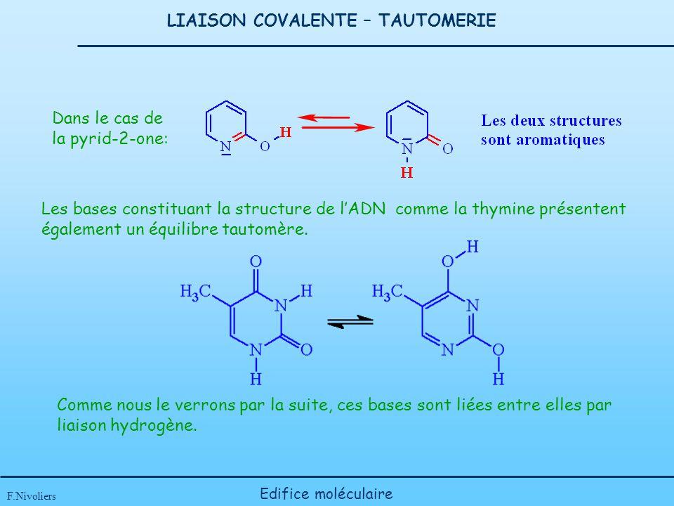 LIAISON COVALENTE – TAUTOMERIE F.Nivoliers Edifice moléculaire Dans le cas de la pyrid-2-one: Les bases constituant la structure de lADN comme la thym