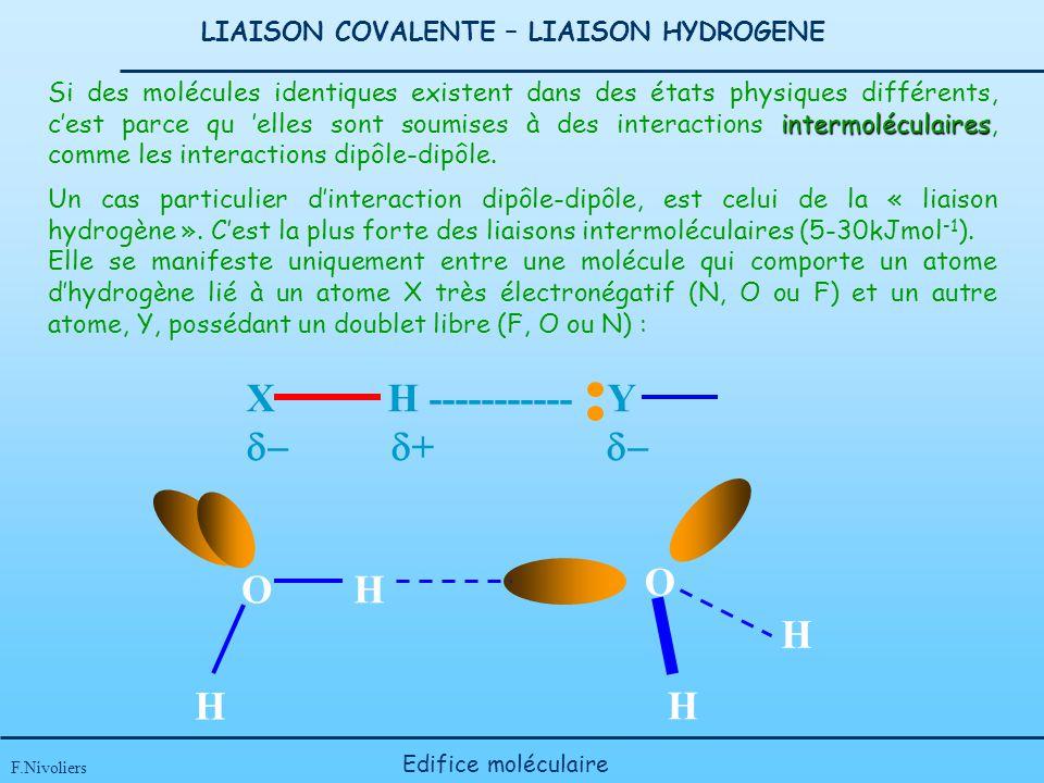 LIAISON COVALENTE – LIAISON HYDROGENE F.Nivoliers Edifice moléculaire Un cas particulier dinteraction dipôle-dipôle, est celui de la « liaison hydrogè