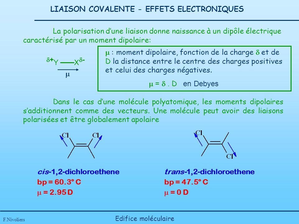 LIAISON COVALENTE - EFFETS ELECTRONIQUES F.Nivoliers Edifice moléculaire La polarisation dune liaison donne naissance à un dipôle électrique caractéri