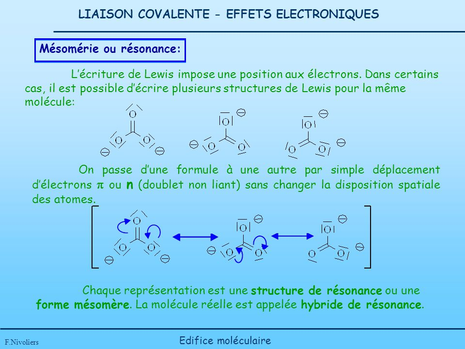 LIAISON COVALENTE - EFFETS ELECTRONIQUES F.Nivoliers Edifice moléculaire Mésomérie ou résonance: Lécriture de Lewis impose une position aux électrons.