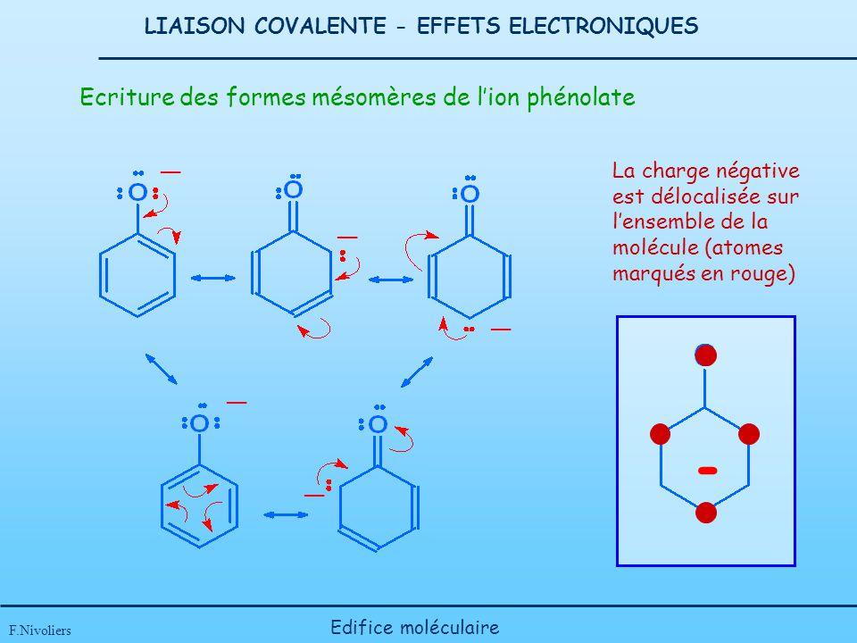 LIAISON COVALENTE - EFFETS ELECTRONIQUES F.Nivoliers Edifice moléculaire - Ecriture des formes mésomères de lion phénolate La charge négative est délo
