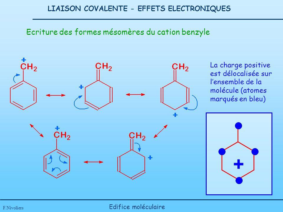 LIAISON COVALENTE - EFFETS ELECTRONIQUES F.Nivoliers Edifice moléculaire Ecriture des formes mésomères du cation benzyle + La charge positive est délo