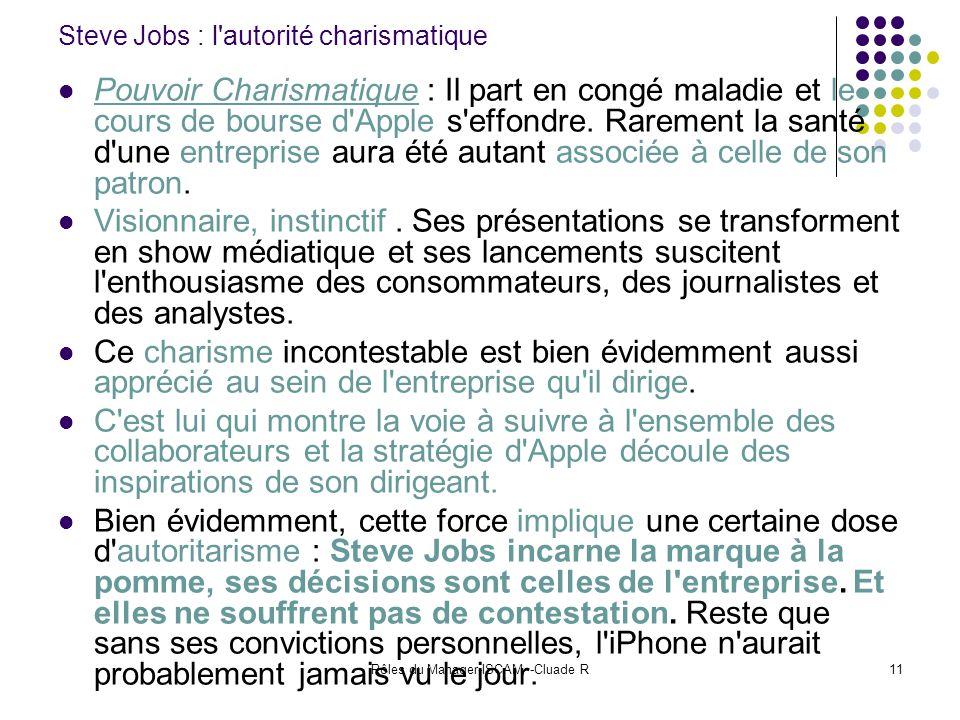 Rôles du Manager-ISCAM -Cluade R11 Steve Jobs : l'autorité charismatique Pouvoir Charismatique : Il part en congé maladie et le cours de bourse d'Appl