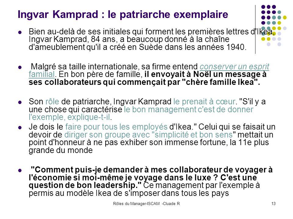 Rôles du Manager-ISCAM -Cluade R13 Ingvar Kamprad : le patriarche exemplaire Bien au-delà de ses initiales qui forment les premières lettres d'Ikea, I