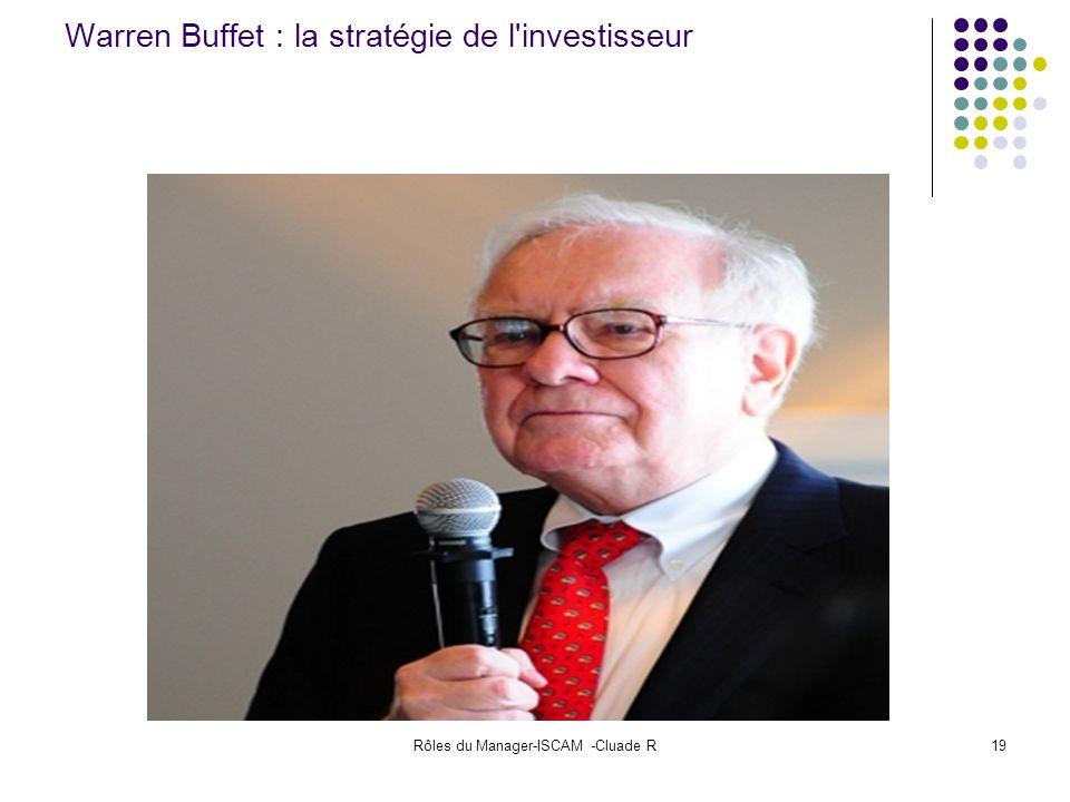 Rôles du Manager-ISCAM -Cluade R19 Warren Buffet : la stratégie de l'investisseur