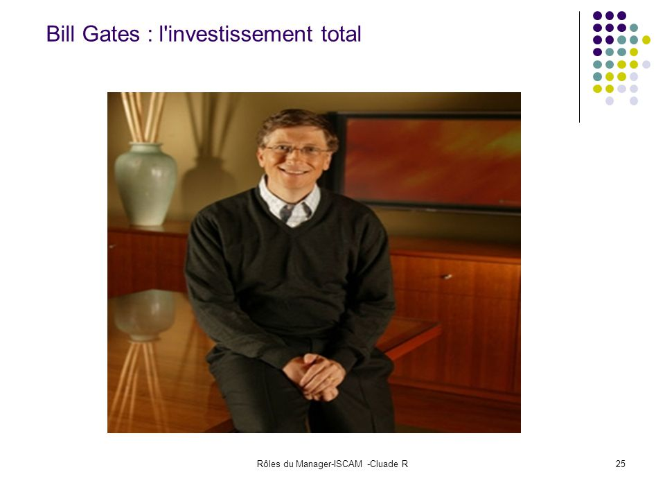 Rôles du Manager-ISCAM -Cluade R25 Bill Gates : l'investissement total
