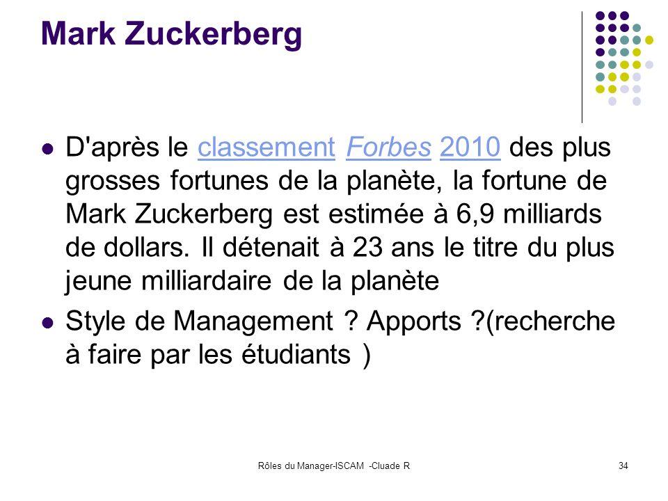 Rôles du Manager-ISCAM -Cluade R34 Mark Zuckerberg D'après le classement Forbes 2010 des plus grosses fortunes de la planète, la fortune de Mark Zucke