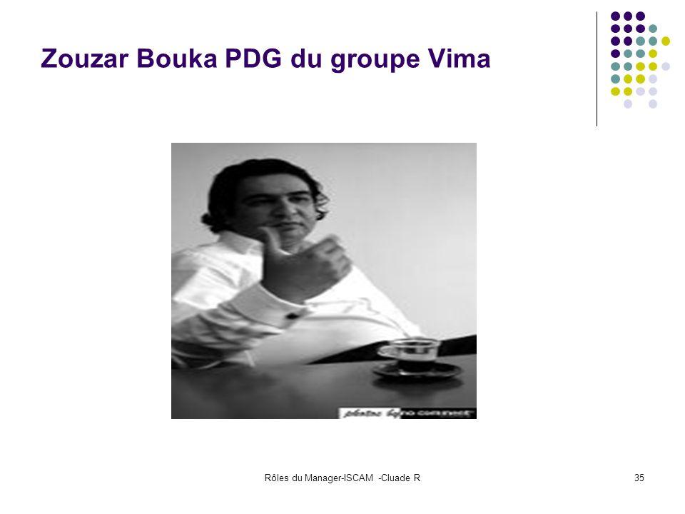 Rôles du Manager-ISCAM -Cluade R35 Zouzar Bouka PDG du groupe Vima