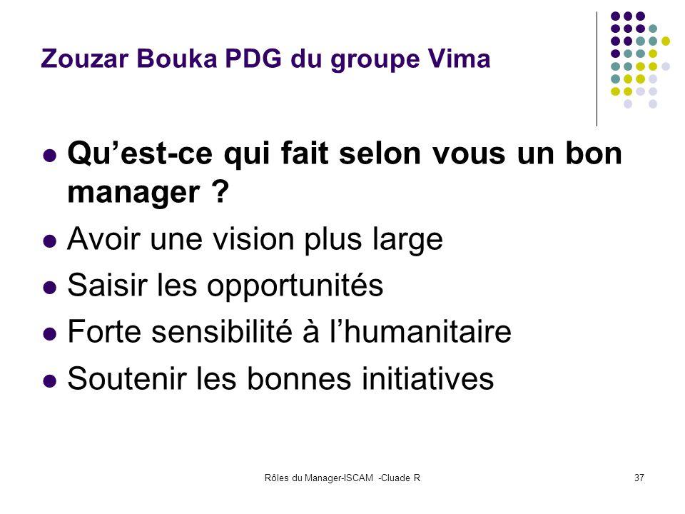Rôles du Manager-ISCAM -Cluade R37 Zouzar Bouka PDG du groupe Vima Quest-ce qui fait selon vous un bon manager ? Avoir une vision plus large Saisir le