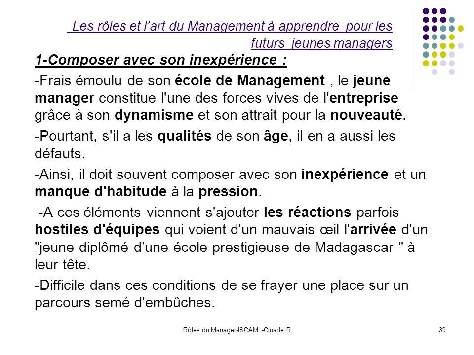 Rôles du Manager-ISCAM -Cluade R39 Les rôles et lart du Management à apprendre pour les futurs jeunes managers 1-Composer avec son inexpérience : -Fra