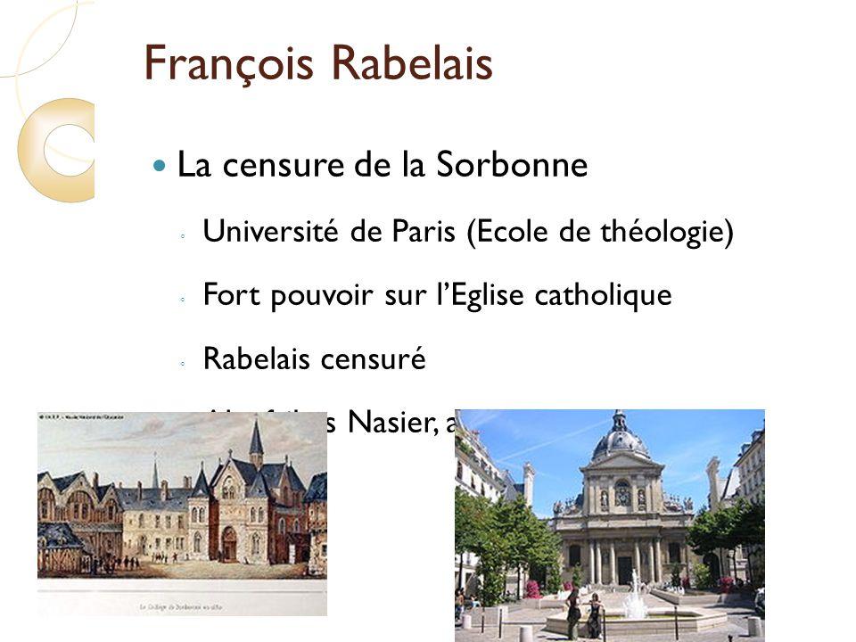 François Rabelais La censure de la Sorbonne Université de Paris (Ecole de théologie) Fort pouvoir sur lEglise catholique Rabelais censuré Alcofribas Nasier, anagramme de François Rabelais