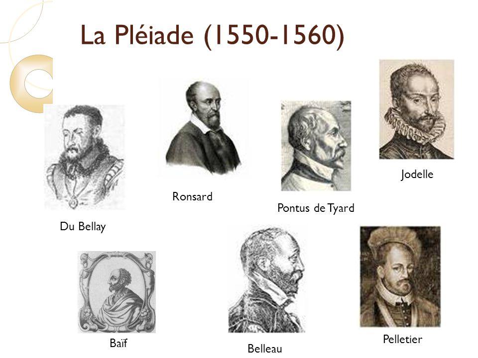 La Pléiade (1550-1560) Ronsard Du Bellay Baïf Pontus de Tyard Jodelle Belleau Pelletier