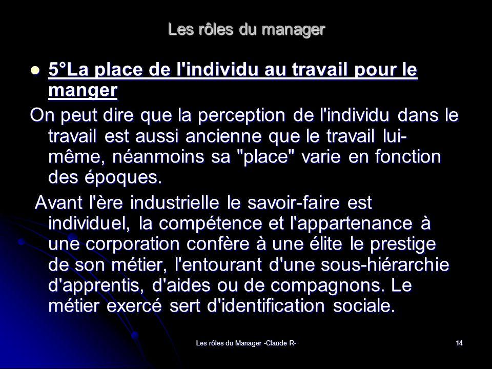 Les rôles du Manager -Claude R-14 Les rôles du manager 5°La place de l'individu au travail pour le manger 5°La place de l'individu au travail pour le