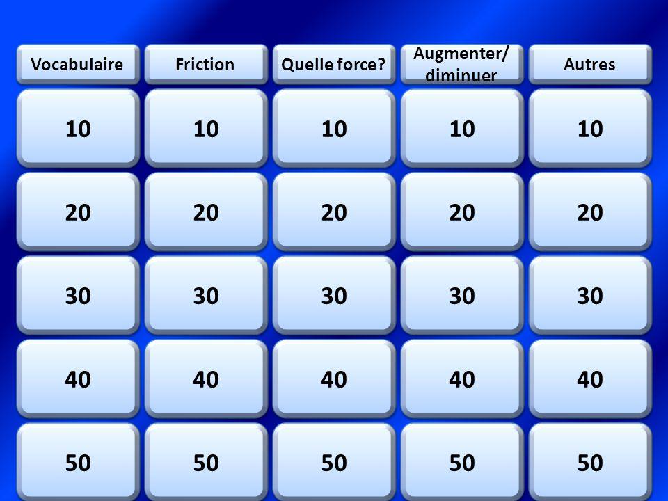 QUESTION: Une force est une ___________ et un ____________ RÉPONSE: Pousser et traction