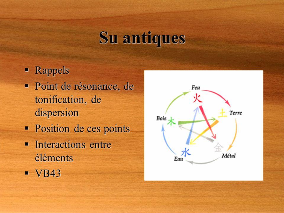 Su antiques Rappels Point de résonance, de tonification, de dispersion Position de ces points Interactions entre éléments VB43 Rappels Point de résona