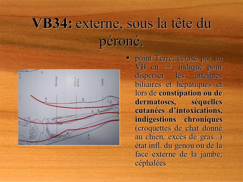 VB34: externe, sous la tête du péroné. point Terre, écrasé par un VB en ++, indiqué pour disperser les atteintes biliaires et hépatiques et lors de co