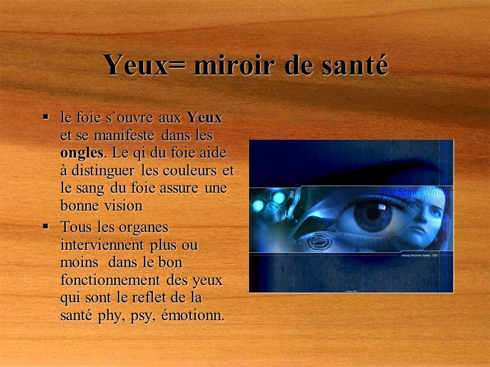 Yeux= miroir de santé le foie souvre aux Yeux et se manifeste dans les ongles. Le qi du foie aide à distinguer les couleurs et le sang du foie assure