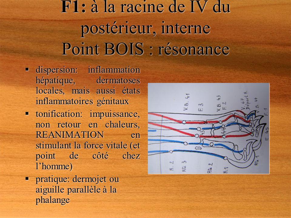 F1: à la racine de IV du postérieur, interne Point BOIS : résonance dispersion: inflammation hépatique, dermatoses locales, mais aussi états inflammat