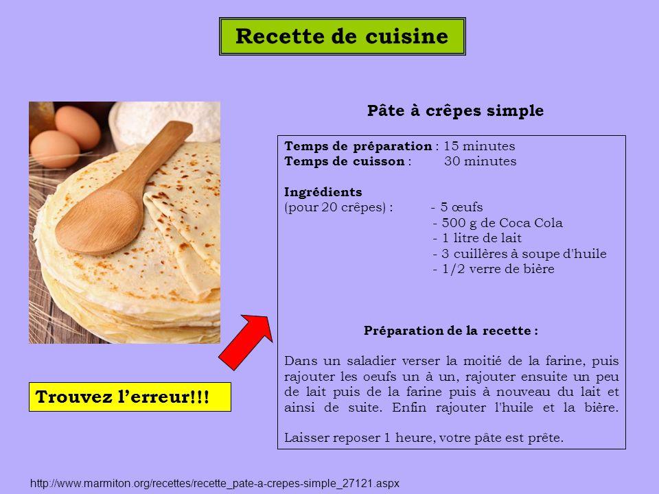 Pâte à crêpes simple Temps de préparation : 15 minutes Temps de cuisson : 30 minutes Ingrédients (pour 20 crêpes) : - 5 œufs - 500 g de Coca Cola - 1