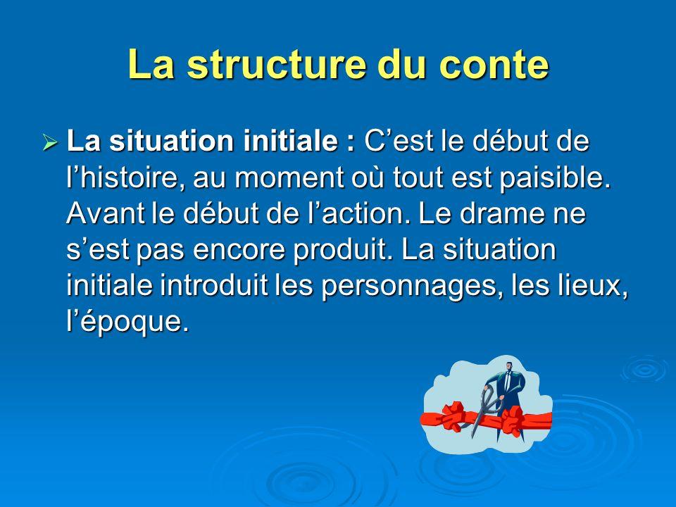 La structure du conte La situation initiale : Cest le début de lhistoire, au moment où tout est paisible. Avant le début de laction. Le drame ne sest