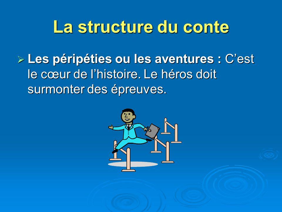 La structure du conte Les péripéties ou les aventures : Cest le cœur de lhistoire. Le héros doit surmonter des épreuves. Les péripéties ou les aventur