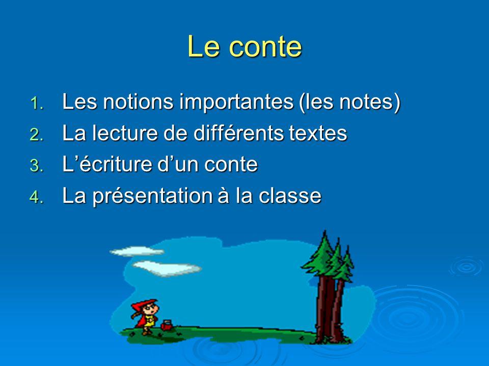 Le conte 1. Les notions importantes (les notes) 2. La lecture de différents textes 3. Lécriture dun conte 4. La présentation à la classe