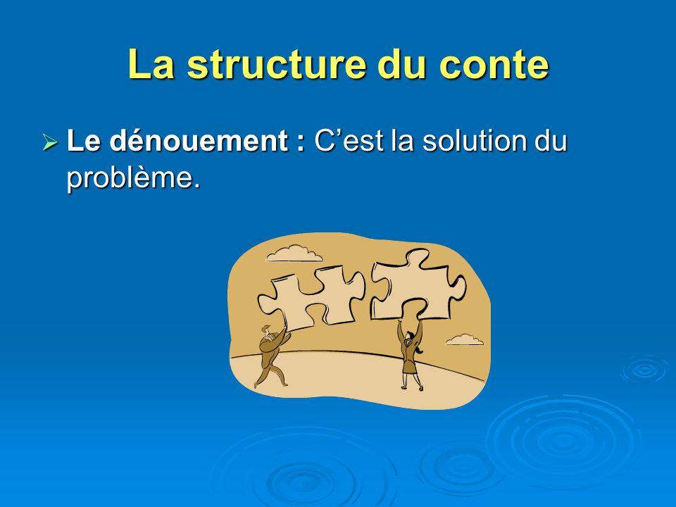 La structure du conte Le dénouement : Cest la solution du problème. Le dénouement : Cest la solution du problème.