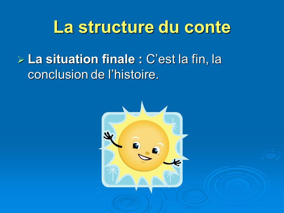 La structure du conte La situation finale : Cest la fin, la conclusion de lhistoire. La situation finale : Cest la fin, la conclusion de lhistoire.