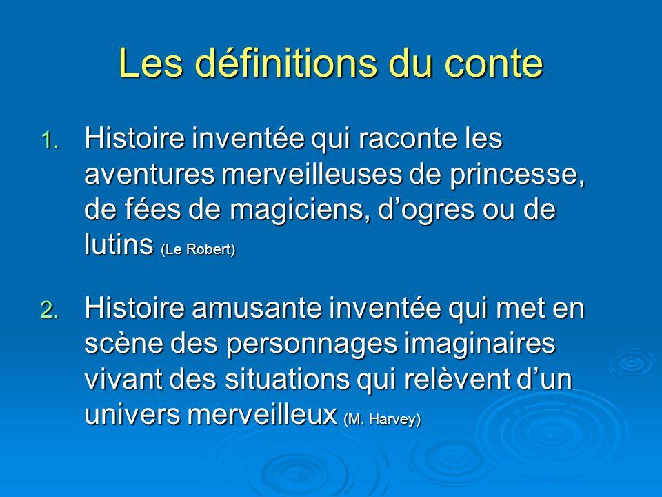 Les définitions du conte 1. Histoire inventée qui raconte les aventures merveilleuses de princesse, de fées de magiciens, dogres ou de lutins (Le Robe