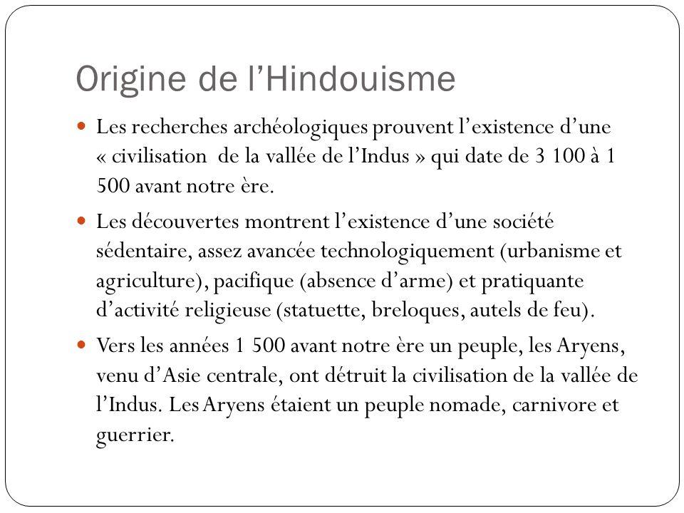Origine de lHindouisme Les recherches archéologiques prouvent lexistence dune « civilisation de la vallée de lIndus » qui date de 3 100 à 1 500 avant