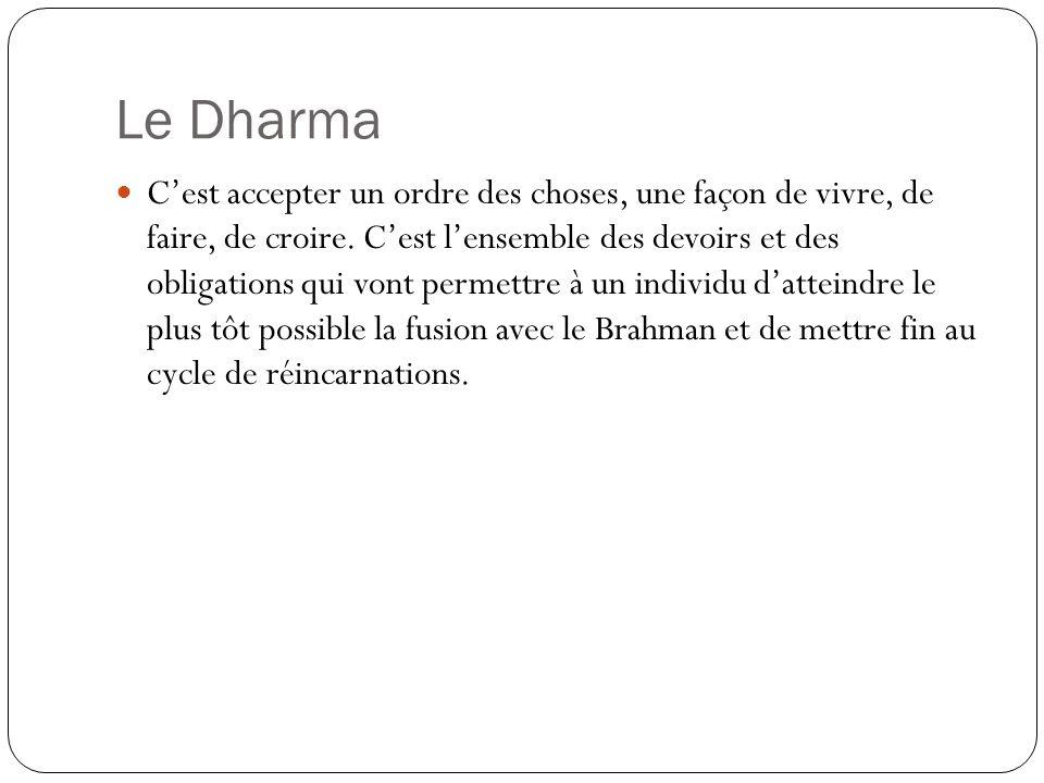 Le Dharma Cest accepter un ordre des choses, une façon de vivre, de faire, de croire. Cest lensemble des devoirs et des obligations qui vont permettre