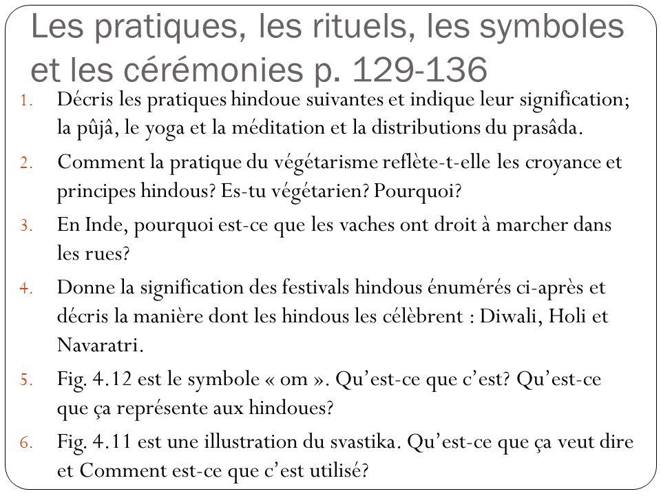 Les pratiques, les rituels, les symboles et les cérémonies p. 129-136 1. Décris les pratiques hindoue suivantes et indique leur signification; la pûjâ