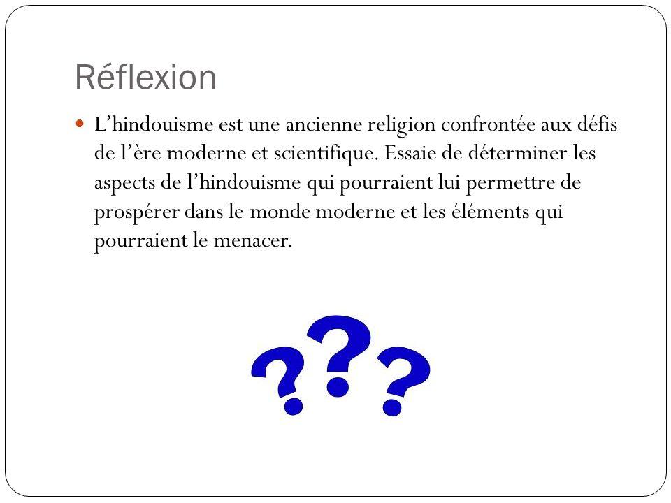 Réflexion Lhindouisme est une ancienne religion confrontée aux défis de lère moderne et scientifique. Essaie de déterminer les aspects de lhindouisme