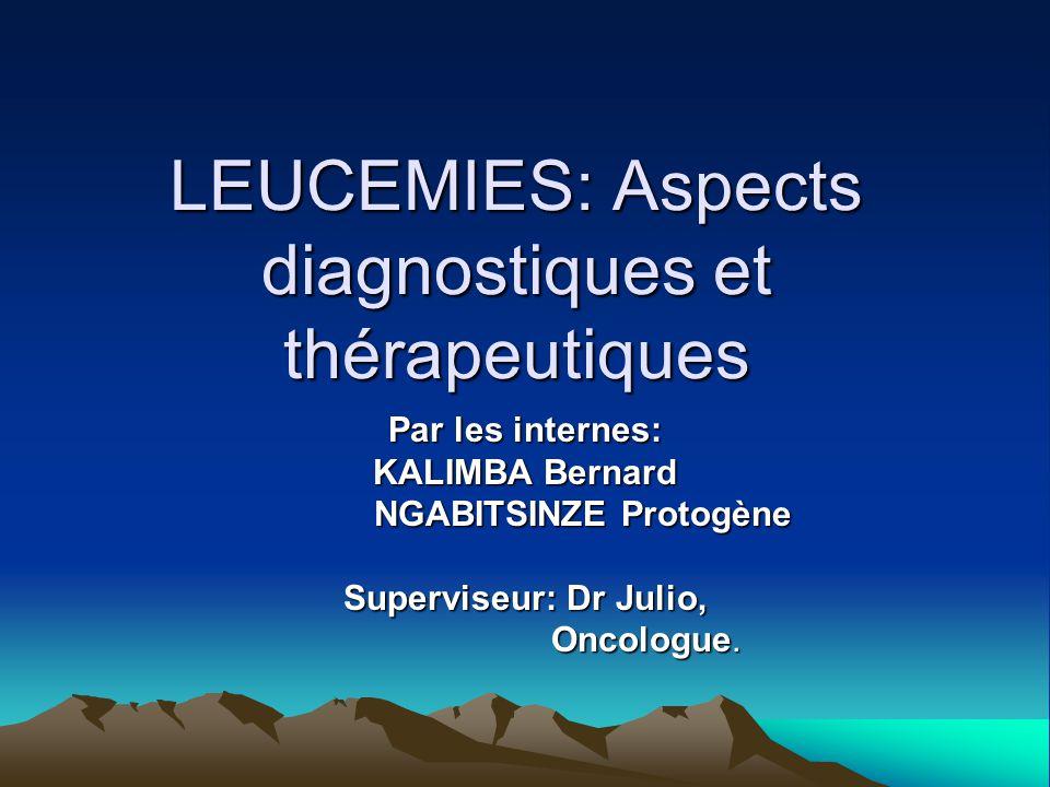 LEUCEMIES: Aspects diagnostiques et thérapeutiques Par les internes: KALIMBA Bernard NGABITSINZE Protogène NGABITSINZE Protogène Superviseur: Dr Julio, Oncologue.