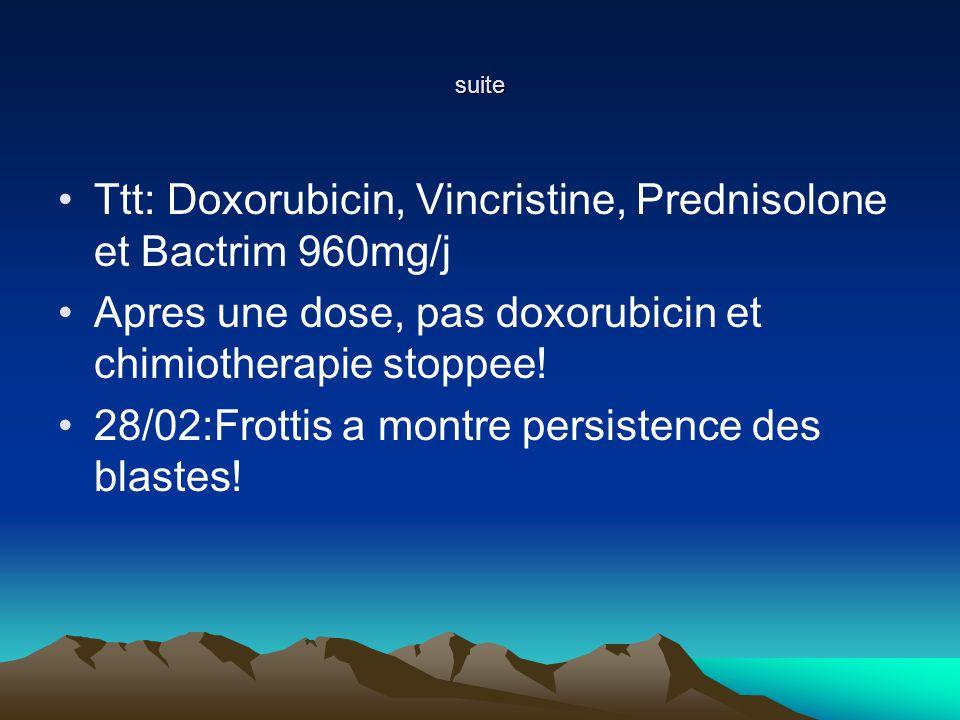 suite Ttt: Doxorubicin, Vincristine, Prednisolone et Bactrim 960mg/j Apres une dose, pas doxorubicin et chimiotherapie stoppee.