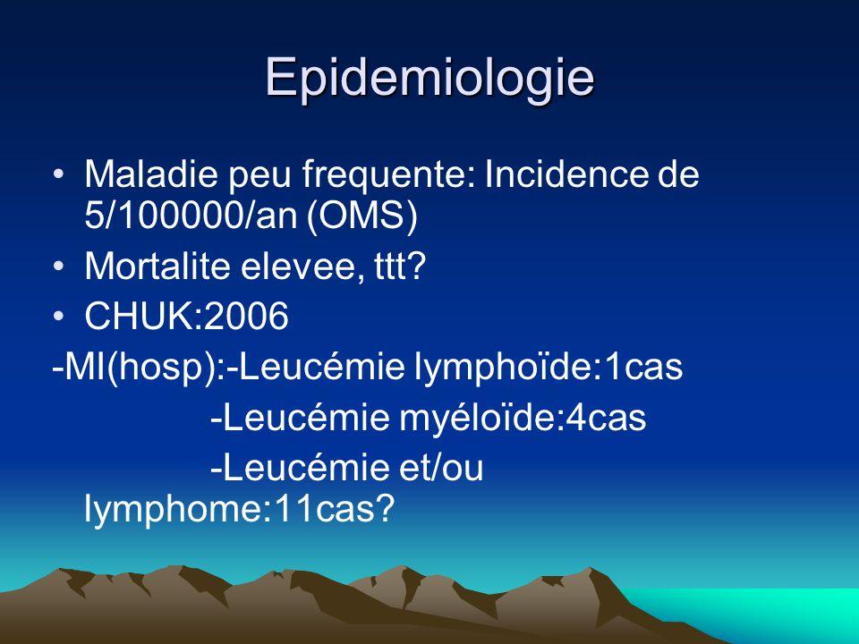 Epidemiologie Maladie peu frequente: Incidence de 5/100000/an (OMS) Mortalite elevee, ttt.